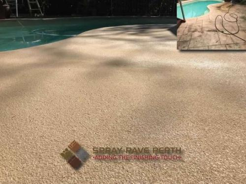 Spray Pave Perth Concrete Resurfacing Attadale Pool Sandy Beige Before After