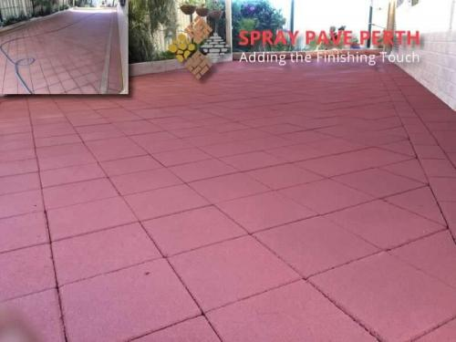 Spray Pave Perth Concrete Resurfacing Dark Terracotta Before After