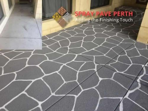 Spray Pave Perth Concrete Resurfacing French Grey on Bushrock Stencil Before  After