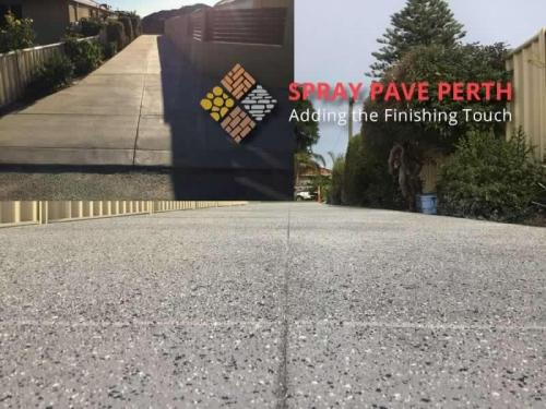 Spray Pave Perth Concrete Resurfacing French Grey with Black  Bluegum Flecks Bluestone Border Before After 2