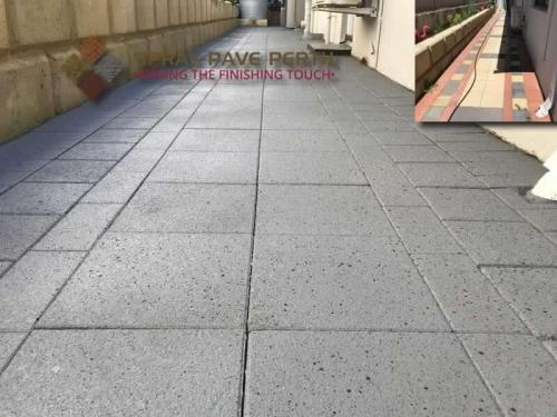 Spray Pave Perth Concrete Resurfacing French Grey with Sky Blue  Charcoal Flecks Before After