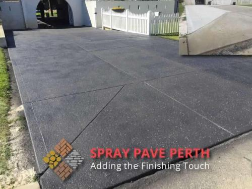 Spray Pave Perth Concrete Resurfacing Jet Black with French Grey Flecks Before After