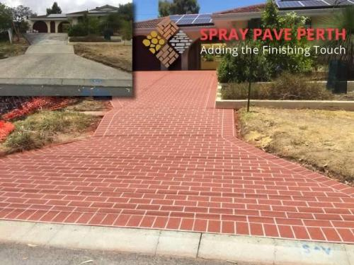 Spray Pave Perth Concrete Resurfacing Outback Red on Brick Stencil Before After