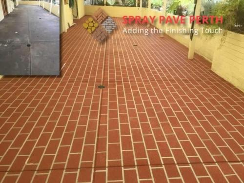 Spray Pave Perth Concrete Resurfacing Outback Red on Brick Stencil Before After 1