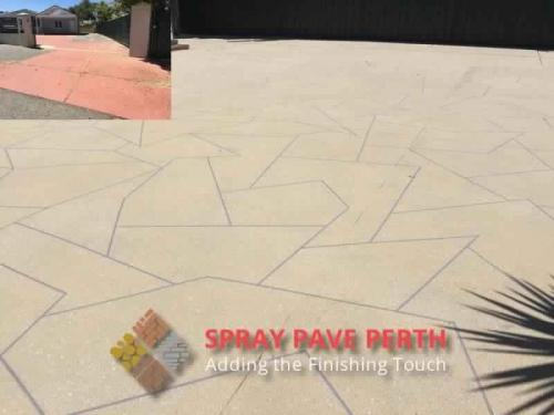 Spray Pave Perth Concrete Resurfacing Sand with white  Grey Flecks on Custom Stencil Before After