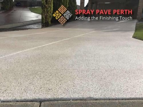 Spray Pave Perth Concrete Resurfacing White with Light Mocha  French Grey Flecks Before After