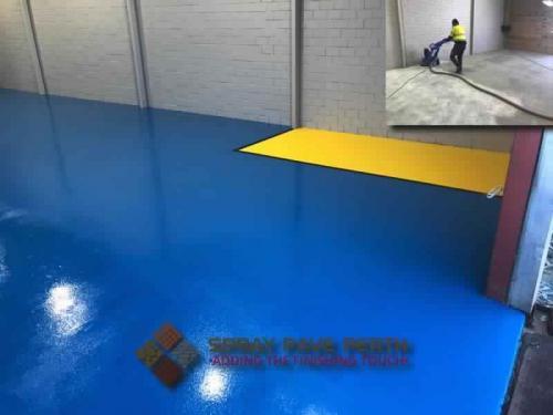 Spray Pave Perth Epoxy Plain Harbour Blue with Roadmaster Yellow 43 Gordon Rd Mandurah